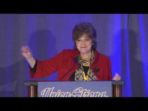 Historian Nancy MacLean speaks to delegates