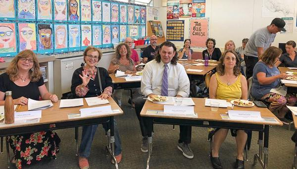 In Santa Cruz, the new Federation of Retired Educational Personnel joins the faculty and classified AFT unions during interviews for potential school board candidates.