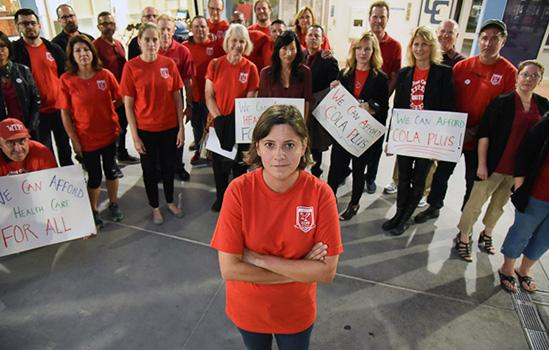 Local President Stephanie Rosenblatt and Cerritos faculty members organize to demand equity at the board of trustees meeting.