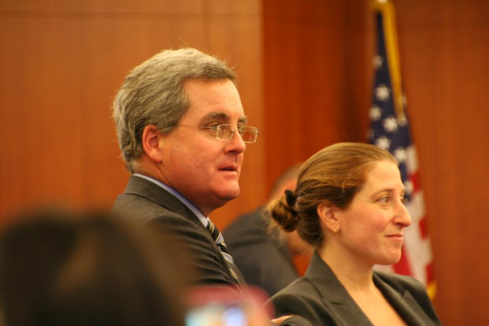 S.F. City Attorney Dennis Herrera and Deputy City Attorney Sarah Eisenberg before trial begins,