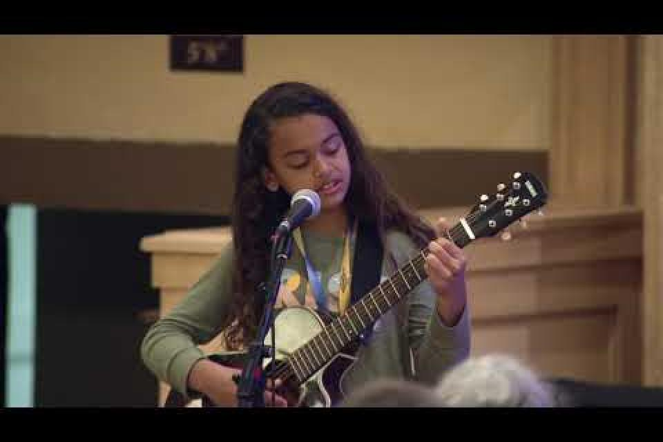 "Fifth grader Aryana Fields  performs ""Strike Song"""