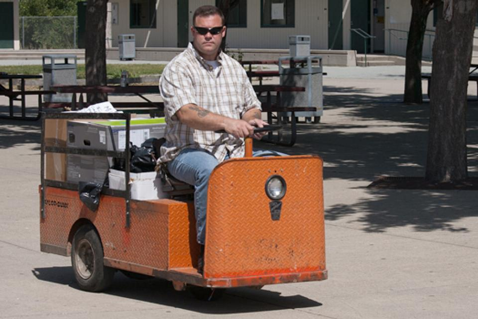 Mike O'Connor, the lead custodian at Anzar High School in San Juan Bautista, monitors the campus for pest problems. O'Connor is a member of the Aromas-San Juan Federation of Classified Employees.