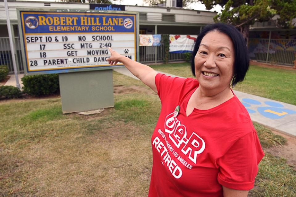 Susie Chow, a member of United Teachers Los Angeles-Retired, has adopted Robert Hill Elementary School, and will help with everything from babysitting to support on the picket lines.