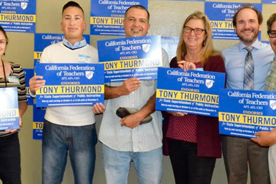 Teachers welcomed the opportunity to talk one-on-one with Tony Thurmond at an event hosted by the Pajaro Valley Federation of Teachers in Watsonville.